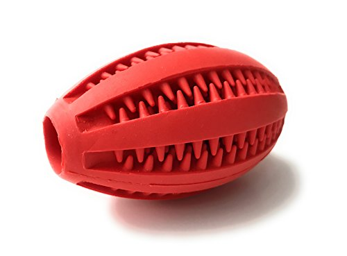 Healthy Teeth Interactive Dog Toy Chew Red Toothbrush Alternative All Natural Brushing Bouncy Durable Rubber Ball for Dogs Massage Teeth Gums (Red)