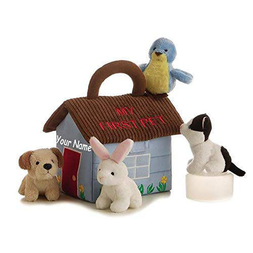 Ebba Personalized My First Pet Animal House Interactive Toys Plush Stuffed Baby Playset with Accessories and Custom Name]()