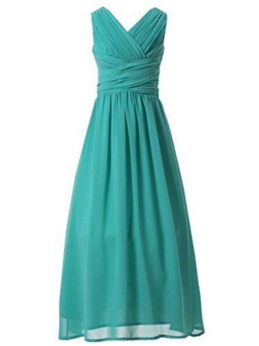 Happy Rose Flower Girl's Dress Party Dresses Juniors Long Bridesmaid Dress Turquoise 12