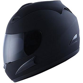 Motorcycle Street Bike Matt Black Full Face Helmet + Two Visors: Smoked & Clear