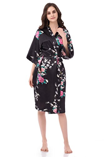 gusuqing Women's Printing Peacock Kimono Robe Short Sleeve Silk Bridal Robe Black L