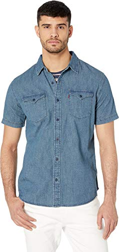 Short Denim Shirt Sleeves Stonewash - Levi's¿ Men's Nevin Short Sleeve Denim Shirt Authentic Stonewash Large