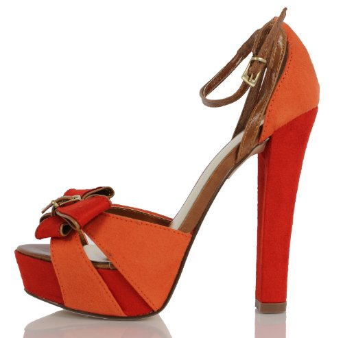 Delicious Womens Neo Bow Knot Strappy Color Block Platform High Heels, Coral, 65 M US