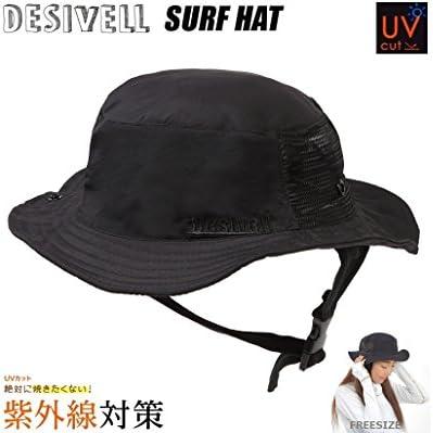 DESIVELL サーフハット SURFHAT (BLACK)フリーサイズ 紫外線対策 ウォーターハット ビーチハット
