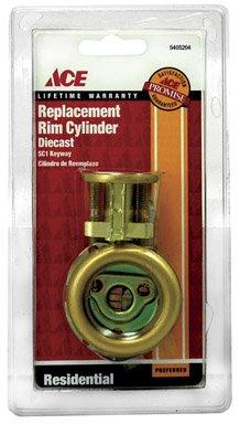 Ace HAMPTON 01-3250-307 DIE CAST RIM CYLINDER SC1 BRASS FINISH - Ace Rim Cylinder
