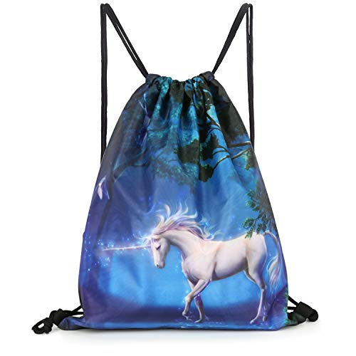 Unicorn Drawstring Backpack Bag Men & Women Sport Gym Sack Cinch Bag with Zipper Pockets (Unicorn) ()