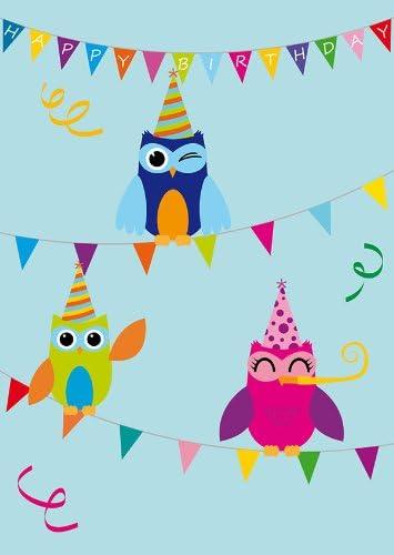 Alles Gute 1107+1108+1109+1111+1112 10 Postkarten Eulen GeburtstagskartenHappy Birthday