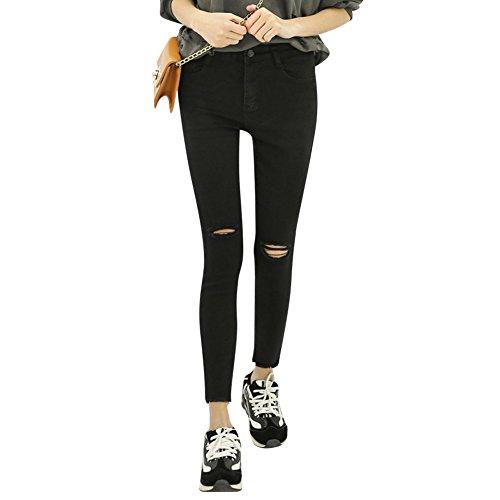 Casual Donna Knee Sottile Elasticizzato Jeans Slash Pantaloni Nero nSg4FxqYw