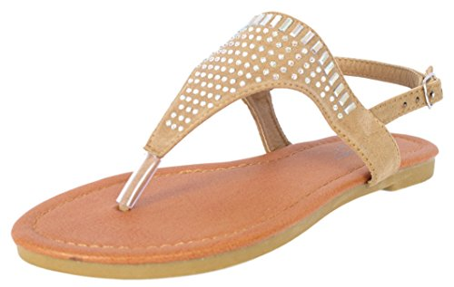 Price comparison product image 'Bebe Girls\' Microsuede with Studded Rhinestone Detail Tan Thong Sandals, Size 2-3'