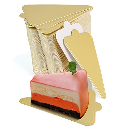HANSGO Triangle Cake Bases, 100PCS Mini Cake Board Mousse Cake Cardboards Dessert Display Trays Golden Pastry Plates