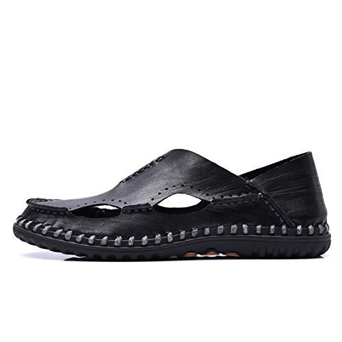 0 Respirables Negro 41 CM Negras Negro Al Cuero tamaño Sandalias Color Sandalias Sandalias Huecas 1 3 Wangcui para EU Sandalias Libre Hombre Aire 0 De 24 27 B7ZnwU