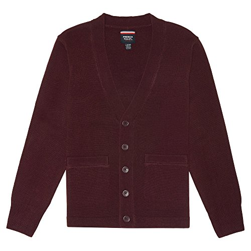 French Toast Big Boys' V-Neck Anti-Pill Cardigan, Burgundy, Medium/8