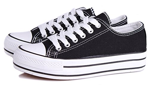 Black Shoes Fashion Women's Canvas Sneakers Lace up Honeystore Platform Low Flats Top RUxwPv