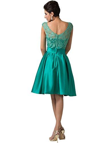 Grace Karin® Women's Satin Sleeveless Green Lace Knee-Length Party Dresses (2)