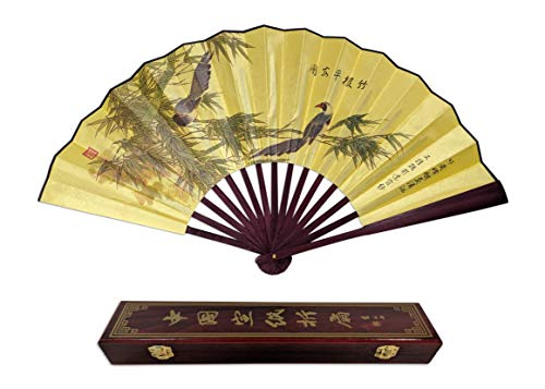 C&K Solutions Folding Hand Fan Chinese Gifts Bamboo with Birds Large Quality Handheld Japanese Fans with Gift Box