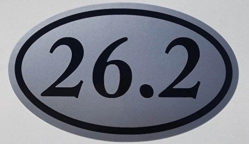 Runner Marathon Oval 26.2 (26.2, I Make Decals™, silver Oval Half Marathon Run car bumper window sticker 5