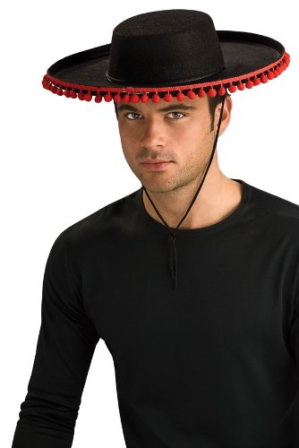 Hat In Spanish (ADULT Spanish Costume Hat with RED Pom Poms (Pom poms are redder than appear in photo))
