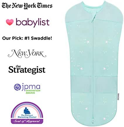 Happiest Baby Sleepea Swaddle, Doctor Designed 5-Second Swaddle, Hip Safe, for The Best Sleep, Baby Doesn't Get Upset by Accidentally Rubbing Hands on Face (Teal, Large)