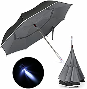 Veckle Double Layer LED Car Reverse Folding Umbrella
