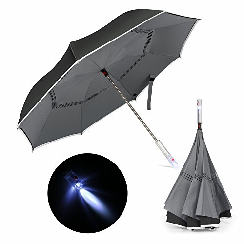 Reverse Umbrella, Veckle Reflective Piping Double Layer LED Car Reverse Folding Umbrella Windproof and UV Protection Hands Free Functional Straight Inverted Umbrella with Carrying Case, Grey