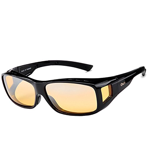 (Duco Myopia Night Vision Glasses Night Driving Polarized Plus Size Black 8954Y)