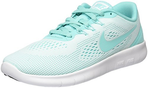 Nike Kids Free RN Big Kid White/Hyper Turquoise/Black Girls (Youth Nike Shoes)