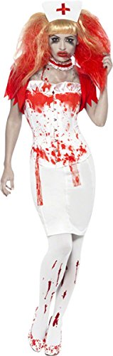 Rock The Ship Pirate Adult Costumes (Smiffy's Blood Drip Nurse Costume, White/Red, Large)