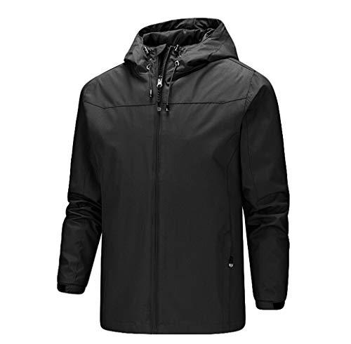 Mens Coat, Men's Mountaineering Suit Fast Drying Windbreaker Outdoor Sportswear Jacket Coat by Ugood (Size:2XL, Black)