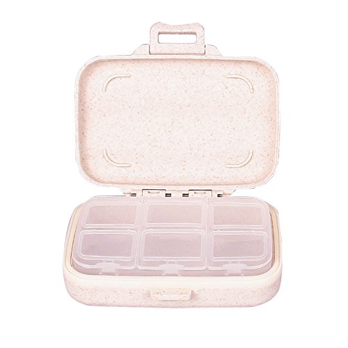 Tiny Pill Box-Portable Travel Vitamin Cases Organizers for Women Food Grade Hard Plastic With Natural Wheat Fiber Removable 6-Compartment Pill Container-Beige by Yuan She