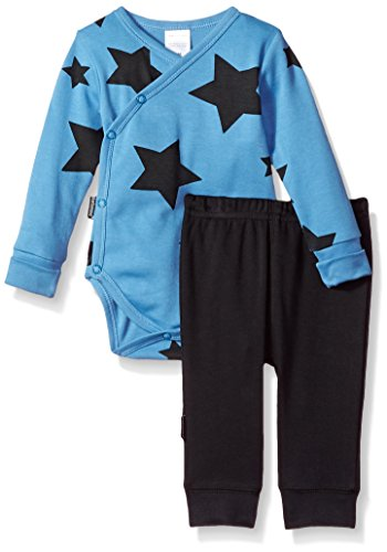 Blue Banana - Blue Banana Baby Boys Pants Wrap Bodysuit Set, Blue, 3m