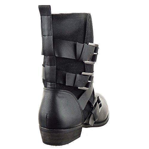 Sopily - damen Mode Schuhe Stiefeletten Reitstiefel - Kavalier Schleife Multi-Zaum Schuhabsatz Blockabsatz - Schwarz