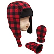 N'Ice Caps Baby Boys Buffalo Plaid Fleece Trooper Hat and Mitten Set (3-6 Months)