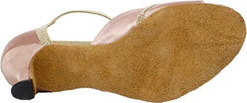 Abby Q-6196 Donna Latino Tango Cha-cha Sala Da Ballo Tacco Personalizzato Peep-toe T-bar Scarpe Da Ballo In Raso Rosa