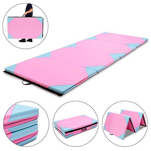 Exercise Mat 4'x10'x2 Blue & Pink Gymnastics Folding Portable Exercise Aerobics Fitness Gym with Ebook