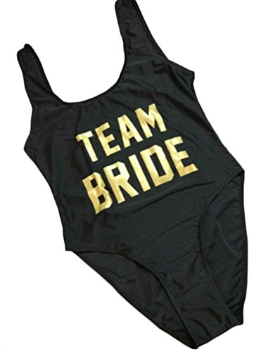 Woman's Sexy Retro Team Bride Letters Prints One Piece Swimsuit Swimwear size S - Suit Sizes Bathing Swim Team