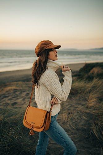 Femme Carré Sac Pour De En Selle Bag Epaule Saddle Bandoulière Porté Ecosusi Camel Rétro dXIq8fXx