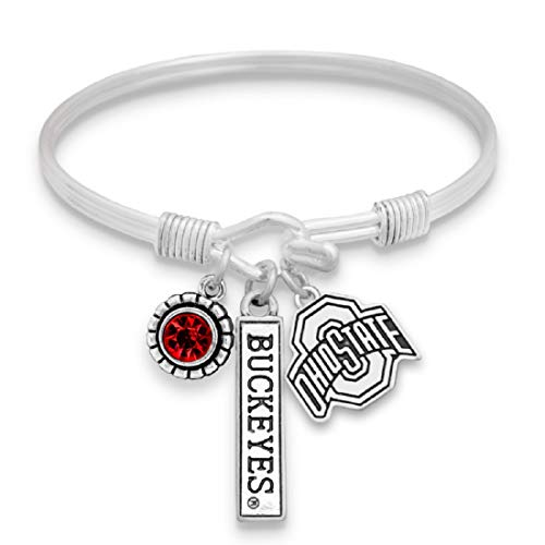 FTH Ohio State Buckeyes Triple Charm Wire Bangle Bracelet with Team Color Rhinestone, Nameplate and Logo Charms