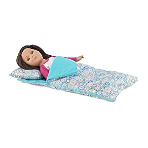 18 Inch Doll Accessories | Reversible Multicolored Geometric Flower Print Sleeping Bag Set with Pillow and Drawstring Storage Bag | Fits American Girl Dolls
