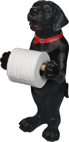 Free Toilet Paper Holder, Black Lab Standing Bathroom Funny Holder Toilet Paper