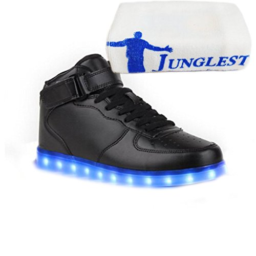 (Present:small towel)JUNGLEST® 7 Colors USB Charging LED Lighted Luminous Couple Casual Sport Shoes High Top Sneakers for U Black j41FSEoxA