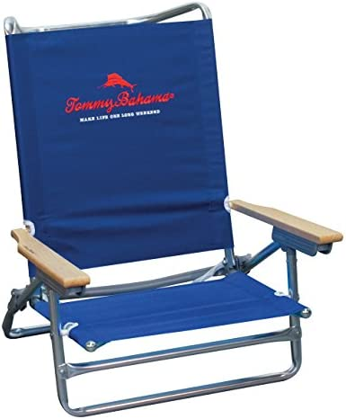 Tommy Bahama 5 Position Classic Lay Flat Beach Chair – Navy