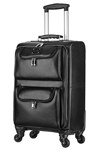 Feixueer Genuine Leather Cowhide Spinner Carry on Business Luggage - 20 Inch Black -
