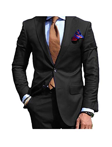 JYDress Men's 2 Pieces Notch Lapel Jacket Pants Groom Tuexdos Suit for Wedding Black