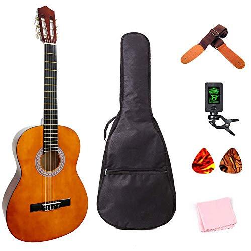 (Classical Guitar 3/4 Size 36 inch Kids Guitar Acoustic Guitar for Beginners 6 Nylon Strings Guitar Starter Kits with Waterproof Bag Guitar Clip Tuner Strap Picks Wipe)