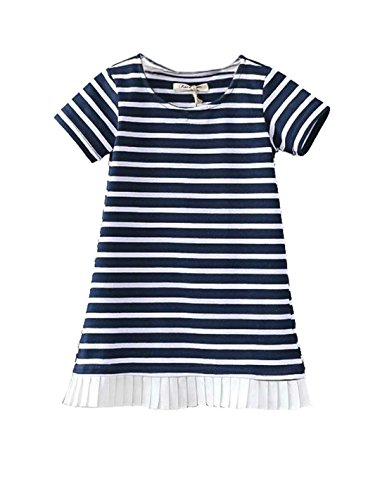 Jxsfly Summer Little Girls Casual Short Sleeve Stripe Dress 6-7 Years (Candy Stripe Skirt)