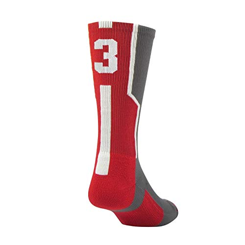 Twin City Player ID Sock (Single Sock) Graphite/Scarlet/White Large (Reg Sportswear)