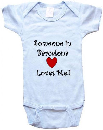 SOMEONE IN BARCELONA LOVES ME - BARCELONA BABY - City Series - Blue Baby One Piece Bodysuit - size Medium (12-18M) - Pamplona Series