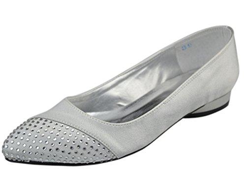 Minitoo - Bailarinas de satén para mujer Plata - plata