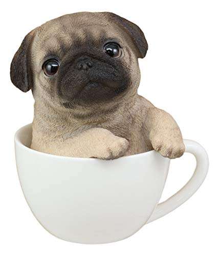 "Ebros Realistic Adorable Pug Dog Teacup Statue 5.5"" Tall Pet Pal Puppy Pugs Dog Breed Lifelike Collectible Resin Decor Figurine with Glass Eyes"