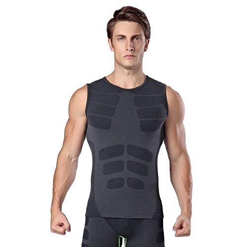 Prettywell Men's Body Shaper Quick Dry Corset Sports Vest MA16 Black L